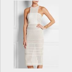 """Self Portrait Stripped Mesh Column Dress The perfect little white dress with an edge!  Worn once for my rehearsal dinner. Hemmed to right above the knee. I am 5""""3. As seen on dancing with the Stars on Erin Andrews! Self Portrait  Dresses"""