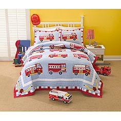 Firetruck Applique Embellished Quilt Set