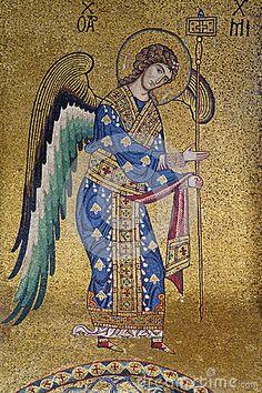 mosaic of the Archangel Michael from the Byzantine part of La Martorana, Santa Maria dell'Ammiraglio in Palermo, Sicily. Byzantine Art, Byzantine Icons, Byzantine Mosaics, Religious Icons, Religious Art, St. Michael, Saint Michael, Michael Roman, Art Roman