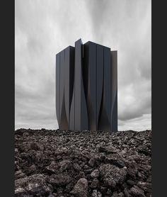 on Behance by Roman Vlasov Modern Architecture Design, Facade Design, Concept Architecture, Futuristic Architecture, Modern House Design, Amazing Architecture, Interior Architecture, Architecture Images, Exterior Design
