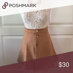 Cocoa skater skirt Darling I'll cocoa colored skater skater skirt accented with buttons down the front   Flattering Skirts