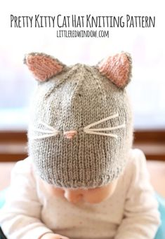 Knit an adorable Pretty Kitty Cat Hat for your little one with this cute and easy knitting pattern! This cute little kitty hat is one of my all time most popular patterns and it's so easy to knit!