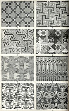 Specimens of ceiling decoration at Thebes (Egypt).  From Historic ornament, treatise on decorative art and architectural ornament, vol. 1, by James Ward, London, 1909.