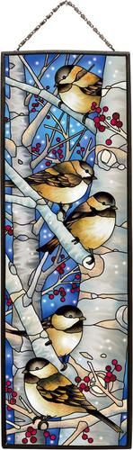 "Chickadee Winter Birds on Tree Branches Art Glass Panel 16"" High Metal Framed 