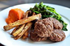 Slider Burgers w/ Sweet Potato Fries (paleo) [omit Turkish Seasoning] Paleo Recipes, Real Food Recipes, Cooking Recipes, Moose Meat, Paleo Burger, Paleo Blog, Fried Mushrooms, Nom Nom Paleo, Paleo Treats