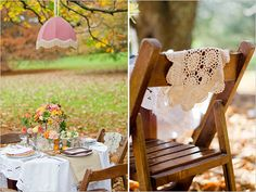 A little #boho #chic wedding inspirations. Love the old vintage lampshade hung above the table.