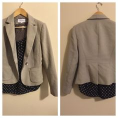 "Calvin Klein ✨ Gray Jacket Size 2, Calvin Klein. Its in fantastic condition, worn no more than twice. Pretty light gray. Has shoulder pads. Fully lined. Please see approximate measurements below.   20"" Length 33"" Bust fully buttoned 22"" Sleeve length  100% Polyester (exterior & lining) Pet free/smoke free - Clean Home! ❤️ See my 'Love Notes' - Next biz day shipper   I consider offers through the offer feature, or bundle 2 items to save $$!  Calvin Klein Jackets & Coats Blazers"