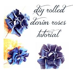 fabric roses, sewing crafts, fabric bows, big bows, craft blogs, denim rose, hair clip, old jeans, blue roses