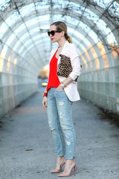 Brooklyn Blonde - classic: jeans, heels, red top and bracelet, soft white blazer and leopard clutch.