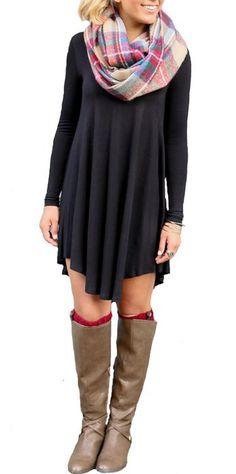 POSESHE Women's Long Sleeve Casual Loose T-Shirt Dress Black L
