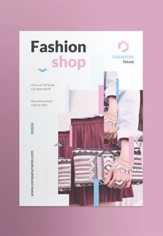 Fashion Shop Poster Template AI, EPS, INDD, PSD Indesign Templates, Print Templates, Brochure Template, Flyer Template, Poster Templates, Double Sided Business Cards, Microsoft Word 2007, Lettering, Super Clean