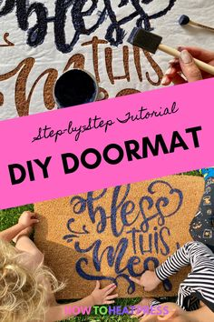 Find out exactly how to make your own custom doormat using this step-by-step tutorial. Doormats are an amazing way to spruce up the entrance to your home with something personal or seasonal. Who doesn't love a good fall doormat?! #cricut #diydoormat #falldecor #freezerpaper #stencil #makers
