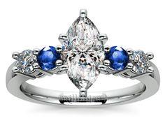 Marquise Center Diamond with .30ct Sapphire Round Gemstone & .24ct Diamond Round Accents Ring in Platinum