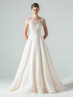 Anne Barge illusion-neck wedding dress with 3-D details