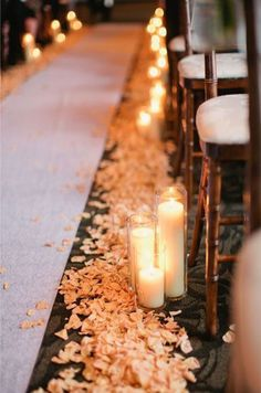 The perfect match? Candlelight and flower petals, of course! Wedding Ceremony, Aisle decor