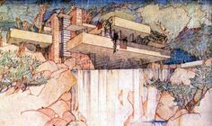"""A Frank Lloyd Wright's perspective, influenced by the aesthetics of Japanese Prints : Kaufmann House-""""Fallingwater"""",1936 (brown ink and coulored pencil on paper); ©the Frank Lloyd Wright Foundation"""