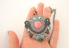 Pink and grey soutache pendant embroidered grey pendant by pUkke