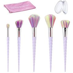 Makeup Brush Set, Beauty Star 5PCS Colorful Unicorn Make Up Brushes Silky Soft Professional Foundation Blending Eyeshadow Cosmetic Brush Set with 2PCS Silicone Makeup Sponge ** Be sure to check out this awesome product. (This is an affiliate link) #MakeupBrushesTools