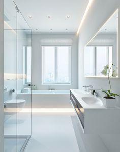 التوهج حول محيط السقف، وحافة المرايا، يعطي نظرة رقيقة في هذا الحمام المنعش.