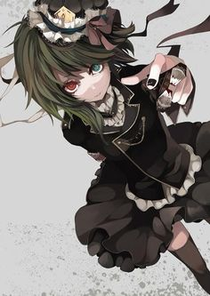 Anime gothic emo girl with red and blue eyes and green hair #Anime