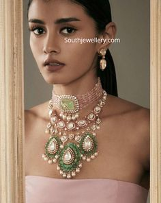 Beads choker and polki emerald necklace photo Antique Jewellery Designs, Indian Jewellery Design, Jewelry Design Earrings, Necklace Designs, Beaded Jewelry, Indian Jewelry Sets, India Jewelry, Emerald Necklace, Diamond Jewellery