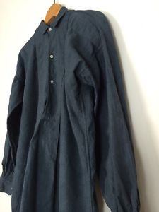 Vtg Linen french antique Black Indigo Patched chore Farmers Smock Shirt Biaude in Clothes, Shoes & Accessories, Vintage Clothing & Accessories, Men's Vintage Clothing   eBay