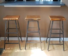 """Reclaimed Wood and Steel Industrial Shop Stool. Made in Chicago. Qty (4) 25"""" counter height - QUICK SHIPPING. $596.00, via Etsy."""