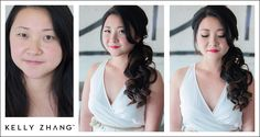 natural glam + pink lips and romantic over the shoulder swept hair by jennifer thai #kellyzhang #kellyzhangstudio #bride #bridal #wedding #makeup #hair #sideswept #hotpink #naturalglam