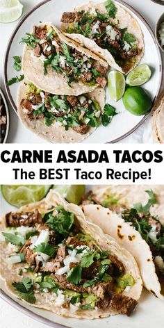 Carne asada tacos are delicious, flank steak tacos with a few simple ingredients and tons of flavor. Just add some avocado, onion, cotija cheese (optional) and cilantro to the grilled steak for authen Authentic Mexican Recipes, Authentic Carne Asada Recipe, Authentic Chicken Tacos, Authentic Food, Beef Recipes, Cooking Recipes, Healthy Recipes, Carne Picada Recipes, Carne Asada Recipes Easy