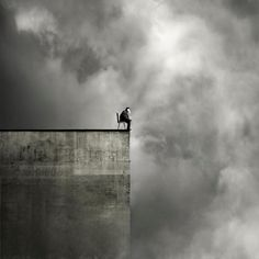 Black & White Photography - On the edge Conceptual Photography, Dark Photography, Black And White Photography, Oleg Oprisco, Photo D Art, Black White Photos, Surreal Art, Photo Manipulation, Belle Photo