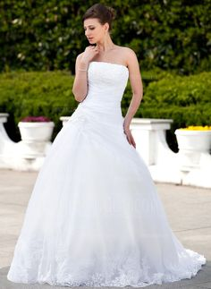 Corte de baile Estrapless La capilla de tren Organdí Satén Vestido de novia con Encaje Bordado (002000135)