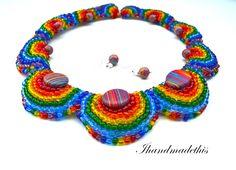 Rainbow statement necklace Crochet Necklace, Handmade Jewelry, Rainbow, Bracelets, Accessories, Rain Bow, Rainbows, Crochet Collar, Diy Jewelry