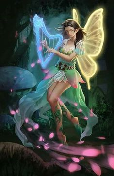 As she played her wings changed colour with the raising vibration , magick! Beautiful Fantasy Art, Beautiful Fairies, Dragons, Fairy Paintings, Fantasy Mermaids, Fairy Pictures, Butterfly Fairy, Love Fairy, Fantasy Images