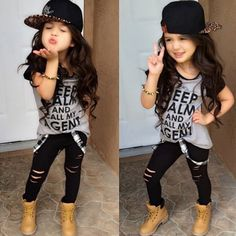 Cheap girls clothes, Buy Quality girls outfits directly from China clothes girls Suppliers: 2017 summer new cute baby girl clothes setToddler Girls Outfit Clothes Print T-shirt Tops+Long Pants Trousers Little Girl Outfits, Cute Outfits For Kids, Little Girl Fashion, Toddler Fashion, Fashion Kids, Korean Fashion, Outfits Niños, Trouser Outfits, Baby Outfits