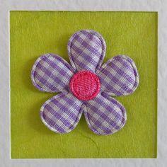 Blank Card, friend, sister, daughter, girlfriend, for her, wife, mum, lilac gingham flower, lime green, modern, recycled envelope, cute - pinned by pin4etsy.com