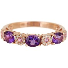 Effy 14K Rose Gold Diamond, Amethyst & Sapphire Ring ($459) ❤ liked on Polyvore featuring jewelry, rings, multicolor, multi color diamond ring, rose gold ring, band rings, diamond rings and rose gold band ring