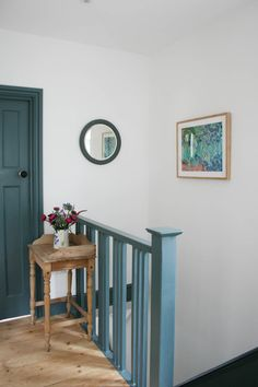 Paint colours and finishes – Apartment Apothecary White Hallway, Hallway Ideas Entrance Narrow, Modern Hallway, Entryway, Light Blue Walls, White Walls, Inchyra Blue, Hallway Colours, Wall Colours