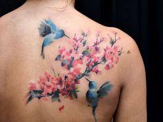 Hummingbird tattoo by Pete Zebley Rose Tattoos, Body Art Tattoos, New Tattoos, Sleeve Tattoos, Hand Tattoos, Hummingbird Flower Tattoos, Hummingbird Tattoo Meaning, Tattoo Son, Back Tattoo