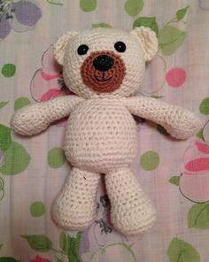 Turner the teddy bear with bernat creme yarn