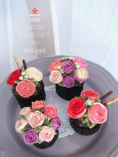 + Choco chocolate flower buttercream cupcake for Valentine's day /valentine's day gift/wedding cupcakes/cupcake decorating tips ... made by SPECIAL MOMENT