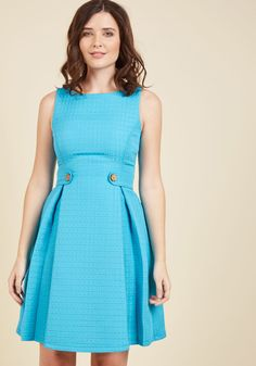 You can channel any number of fashion icons with this aqua dress from our ModCloth namesake label! The anything-but-ordinary square texture of this A-line. Chic Outfits, Pretty Outfits, Pretty Dresses, Fashion Outfits, Fit And Flare, Fit N Flare Dress, 1940s Fashion Dresses, Vintage Dresses, Office Dresses For Women