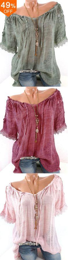 Women Lace Crochet Pure Color Short Sleeve Shirts.Casual,Short Sleeve,V-Neck.Color:Blue,Burgundy,Dark Grey,Green,Light Gray,Pink,Yellow.Size:XS,S,M,L,XL,XXL,XXXL,XXXXL.Buy now!#women #fashion #springoutfits