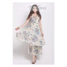 Wonderful Butterfly Print Chiffon Falbala Bohemia Dress (48 AUD) ❤ liked on Polyvore featuring dresses, butterfly dress, long length dresses, long day dresses, moth dress and long chiffon dress