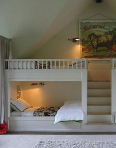 Great for two kids, plus I love that ram! -Made - Kansas City | Home Remodeling | Home Styling | Custom Woodworks | Custom Furniture: A Charmed Life | Bed Nooks