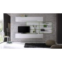 Wohnwand weiss/ grün echt hochglanz lackiert Woody 12-00558