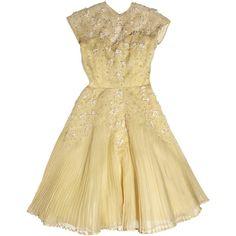One Vintage Ava dress ($685) ❤ liked on Polyvore featuring dresses, vestidos, short dresses, платья, cream, short beaded dress, beaded dress, pleated dress, beige cocktail dress and short beaded cocktail dresses