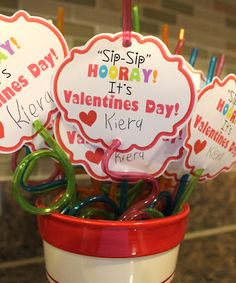 Cute non-candy valentines idea.  Printable included!
