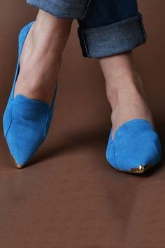 metal tipped blue suede flats