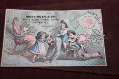 antique trade card for Mersinger & Co. Ottawa Street, Joliet Illinois.