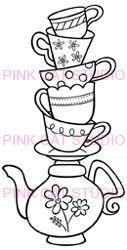 2 Teapots Amp Teacup Cutout Templates Tea Party Birthday